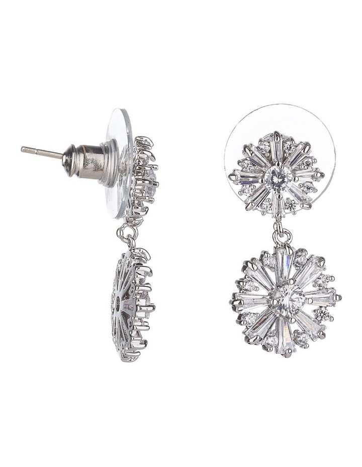 Flower CZ Drop Earrings image 2