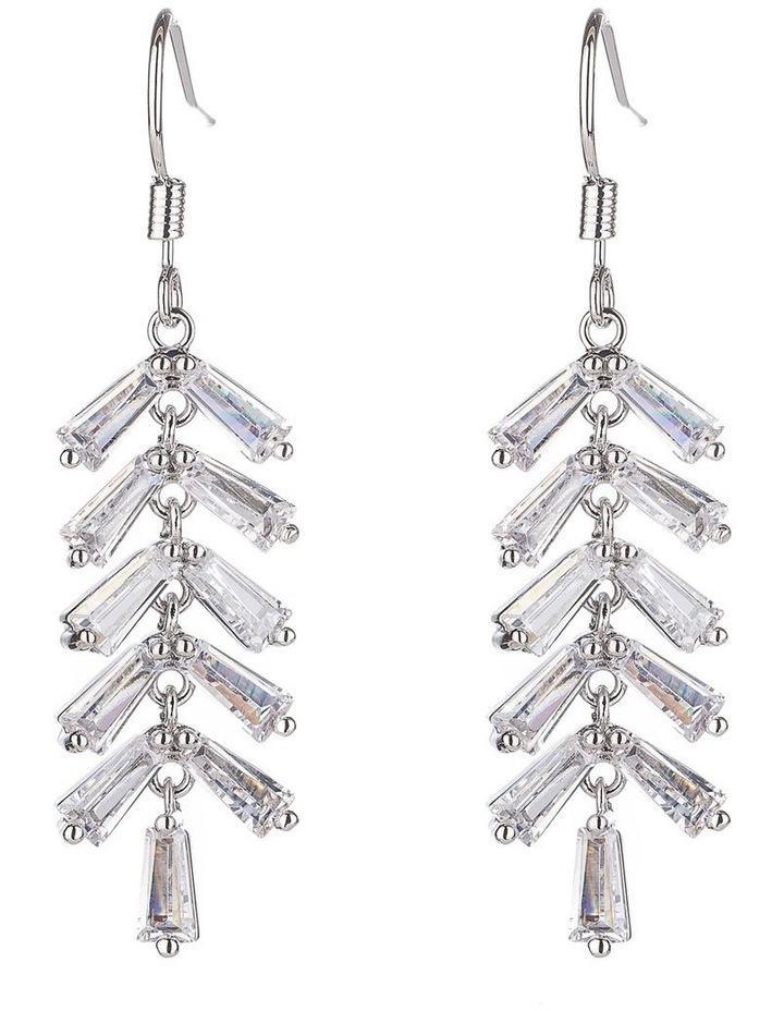 Long CZ Tassel Drop Earrings image 1