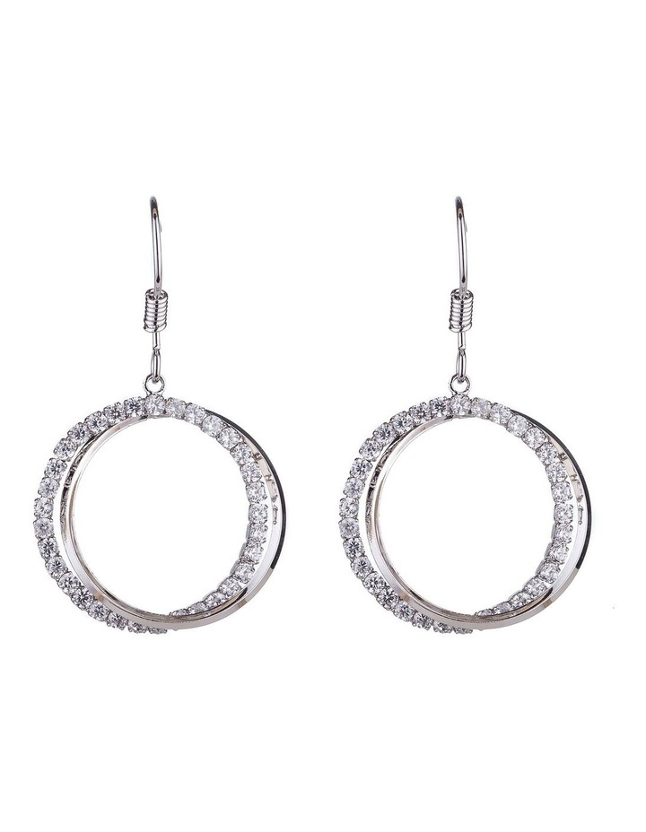 Circle CZ Drop Earrings image 1