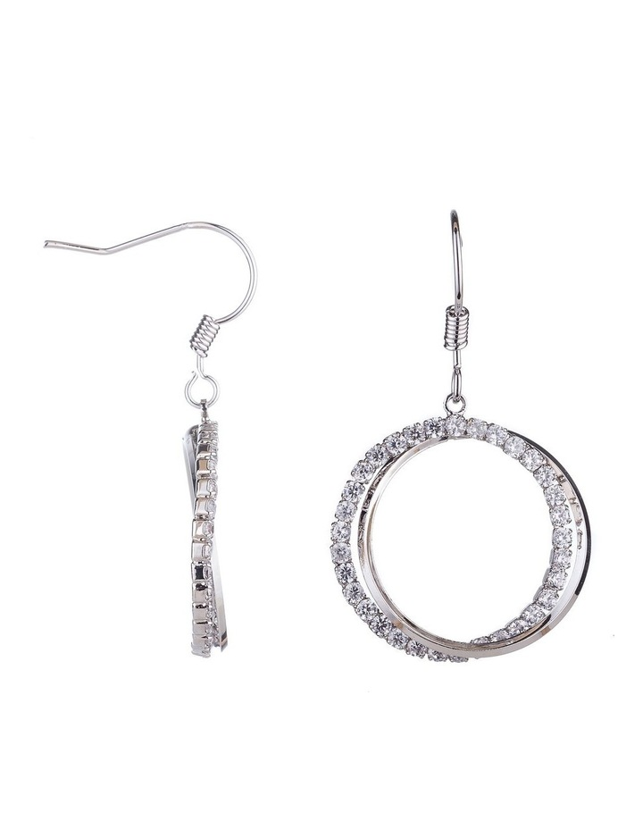 Circle CZ Drop Earrings image 2