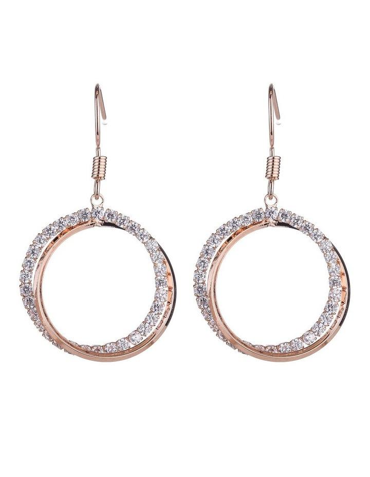 Circle CZ Drop Earrings image 1