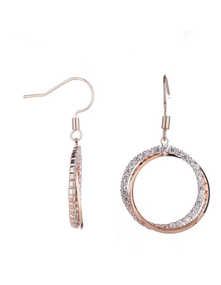 Circle CZ Drop Earrings image 2