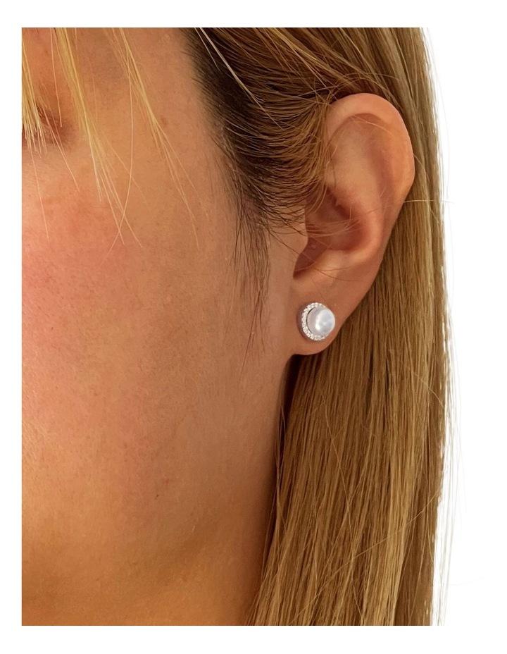 Brilliant Halo Pearl Silver Stud Earrings image 2
