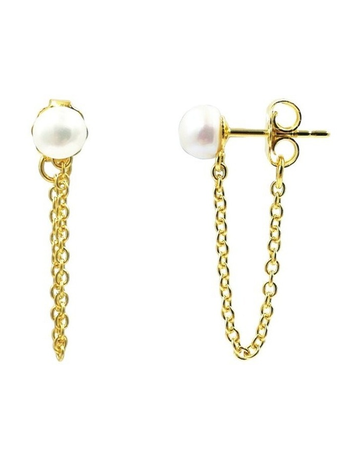 14ct Gold Plated Looped Pearl Earrings image 1