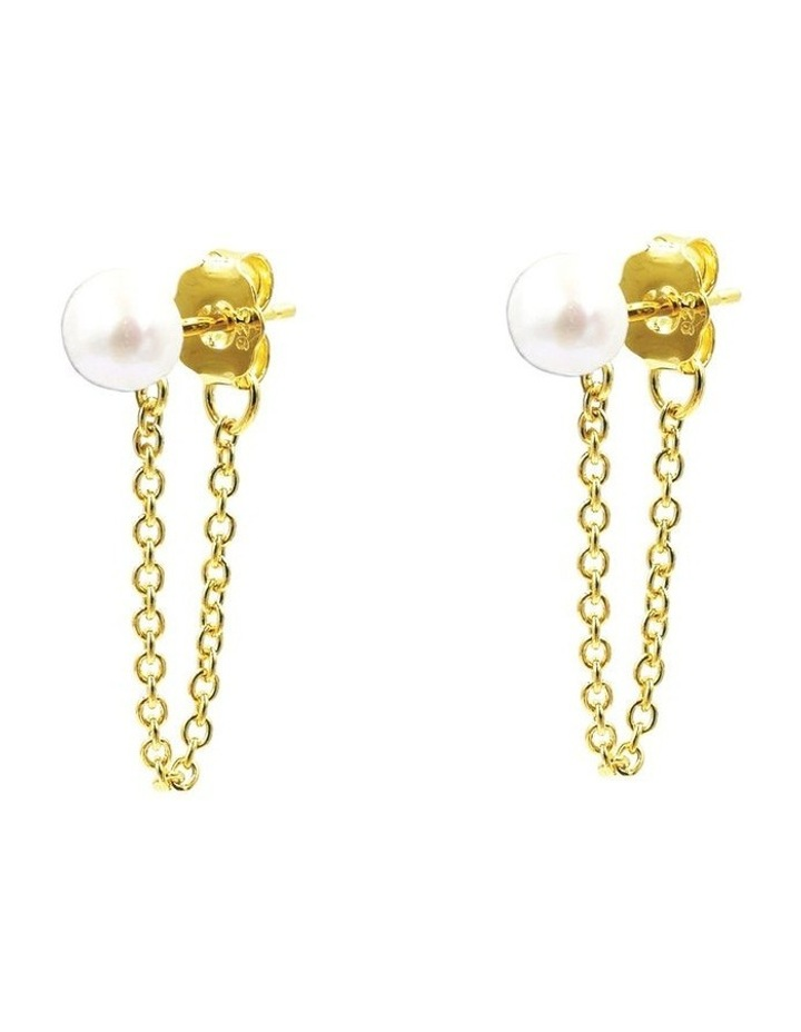 14ct Gold Plated Looped Pearl Earrings image 2