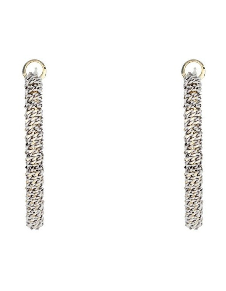 Oval Woven Metal Hoop Earrings image 1