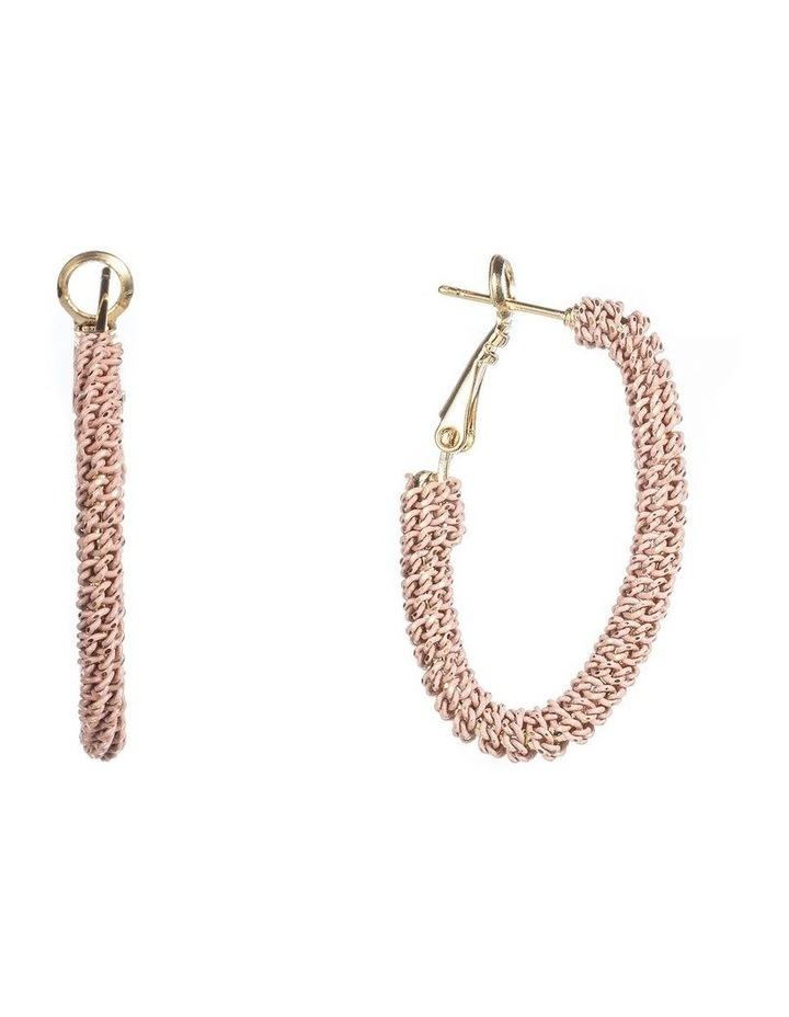 Oval Woven Metal Hoop Earrings image 2