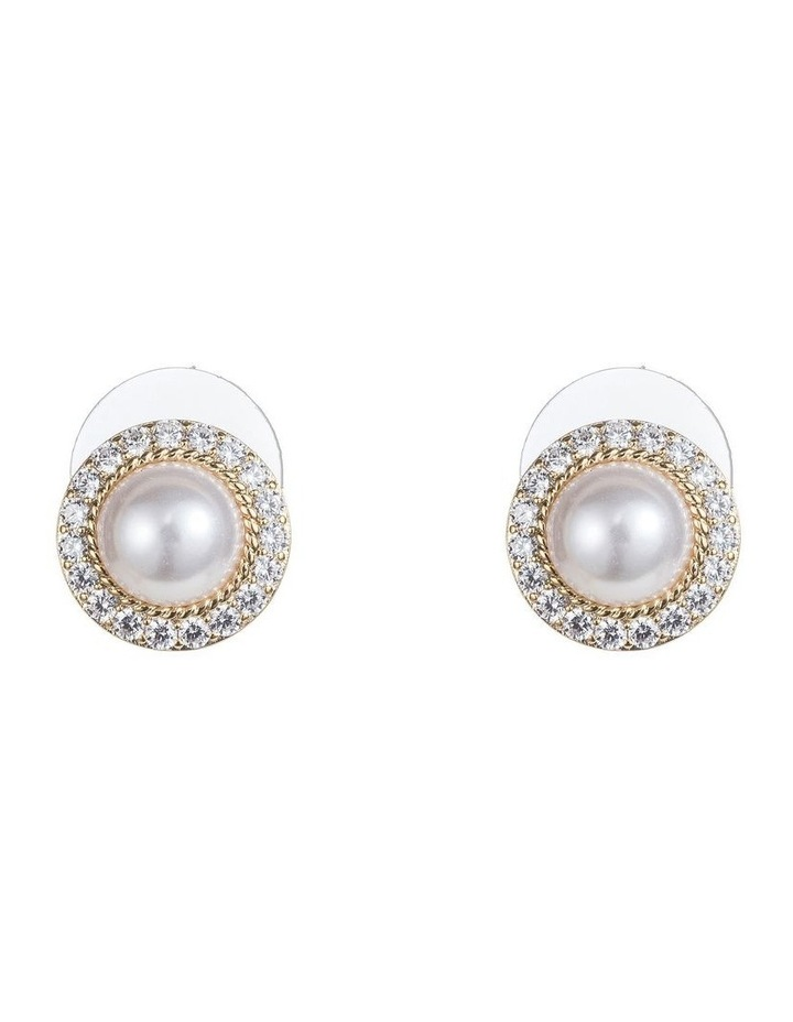 Cz And Pearl Dome Earrings image 1