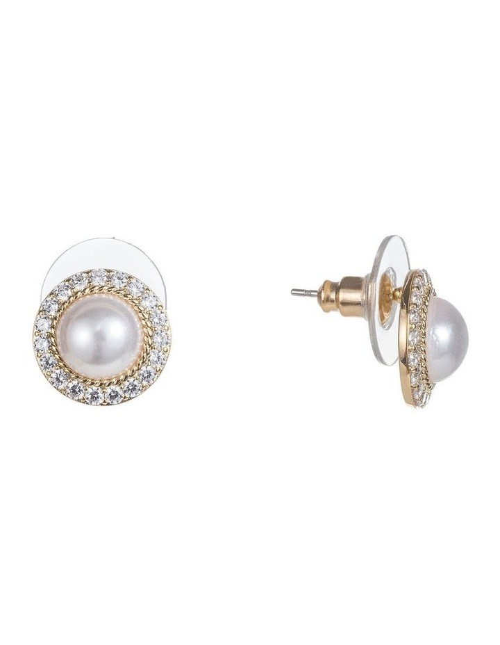 Cz And Pearl Dome Earrings image 2