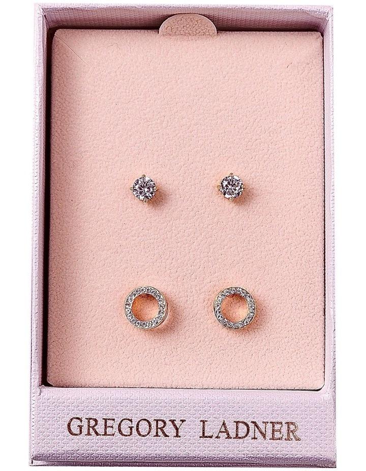 Rose Gold Cz Stud And Circle Gift Box image 1