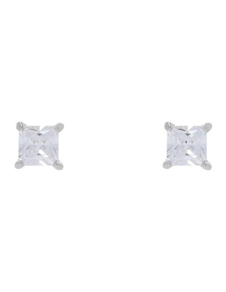 6mm Cubic Zirconia Square Stud Earring image 1