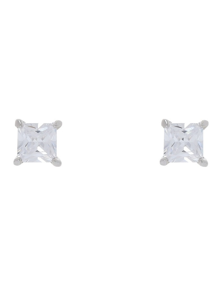6mm Cubic Zirconia Square Stud Earring image 2