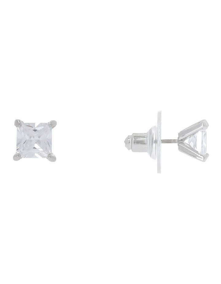 6mm Cubic Zirconia Square Stud Earring image 3