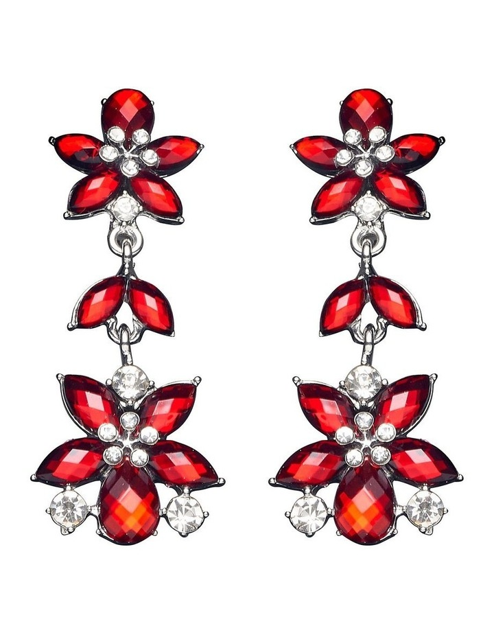 CRYSTAL FLORAL DROP CLIP-ON EARRINGS image 1