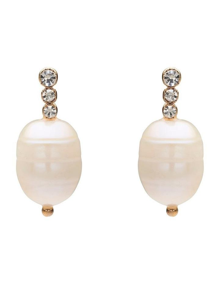 3 Diamonte Pearl Earring image 1