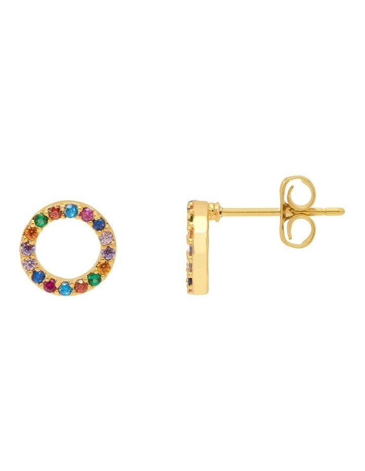 Multi CZ Circle Earrings image 1