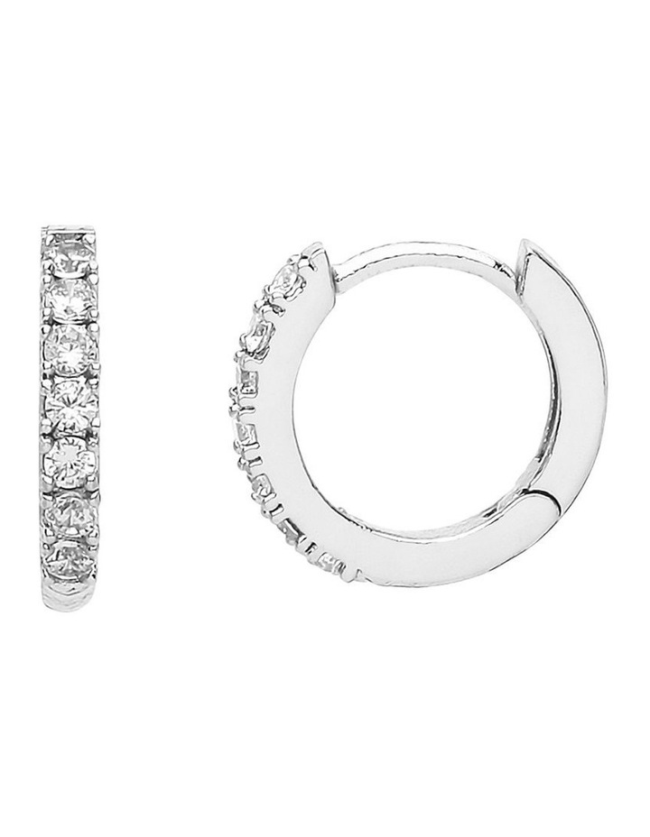 Pave Set Hoop Earrings With White CZ image 1