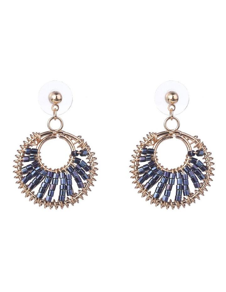 Bead Weave Navy Drop Earrings image 1