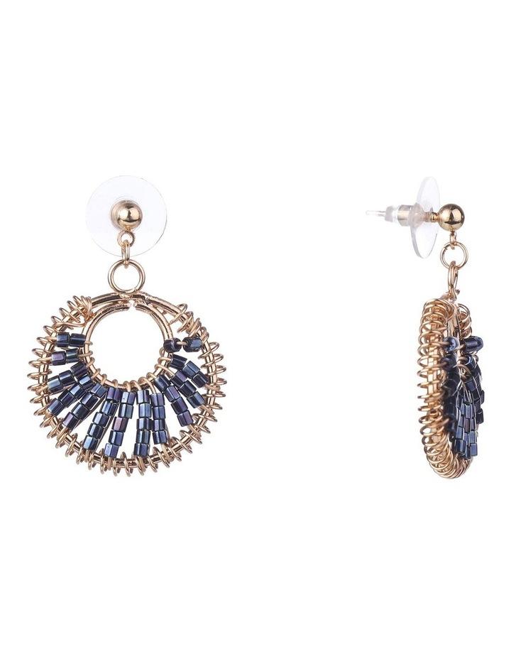 Bead Weave Navy Drop Earrings image 2