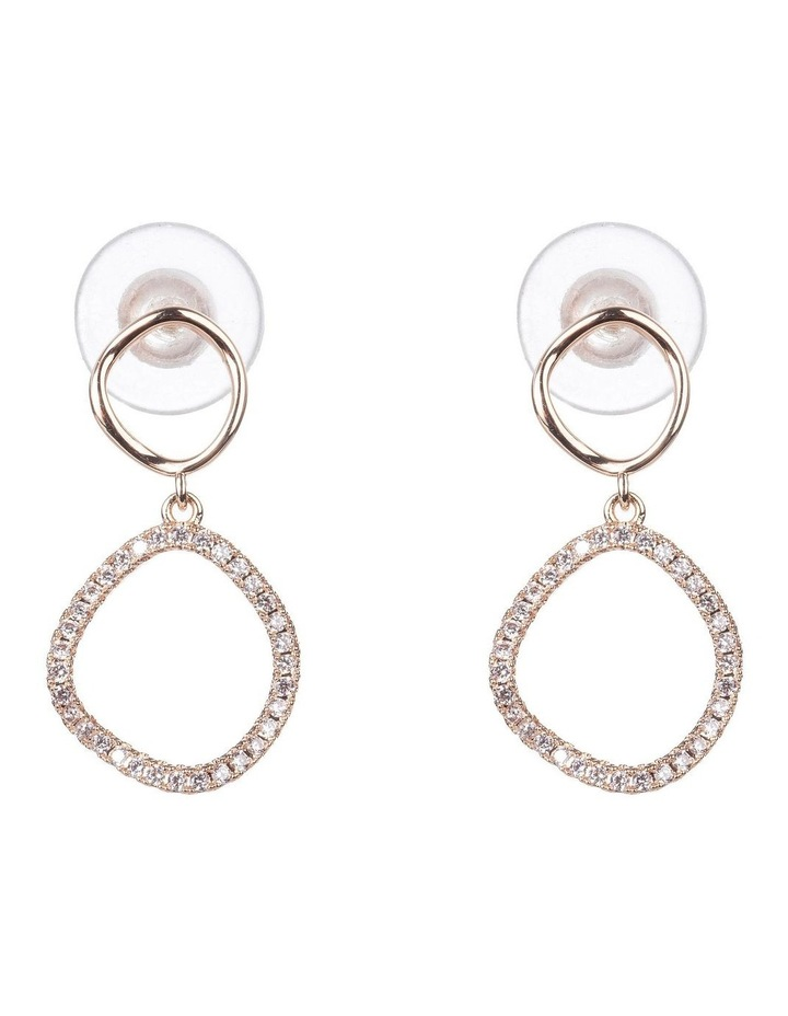 Warped Circle Drop Rose Earrings image 1