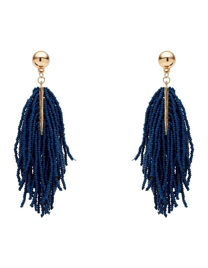Fringe State Bead Blue Dangle Earrings image 1