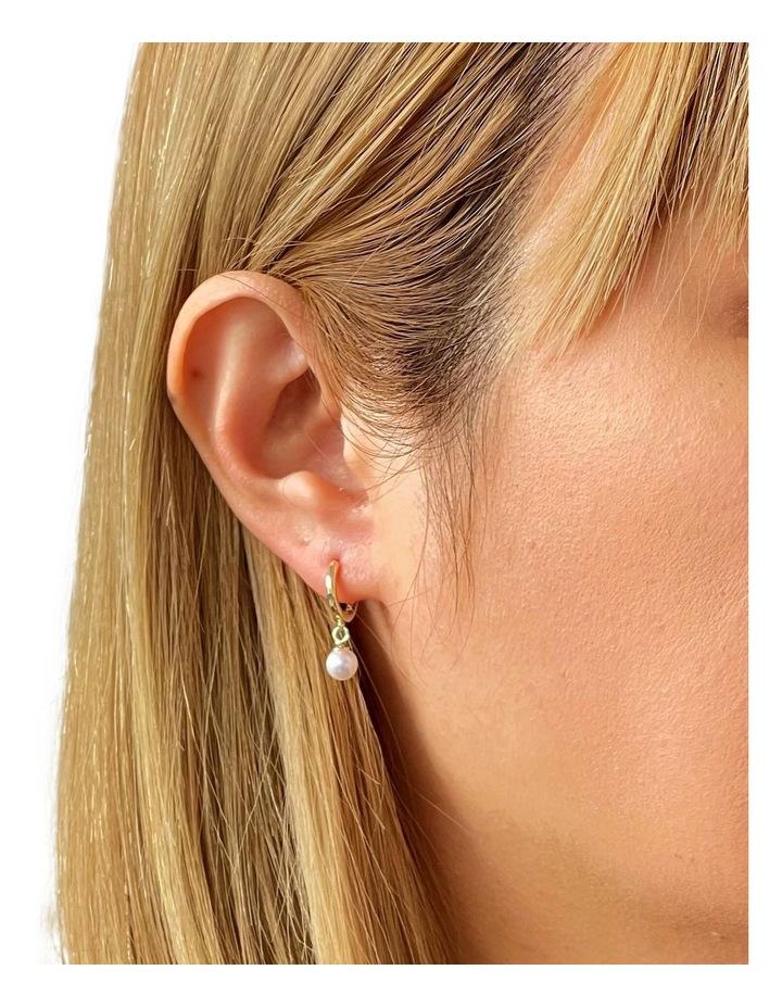 14ct Gold Plated Huggie Pearl Earrings image 2