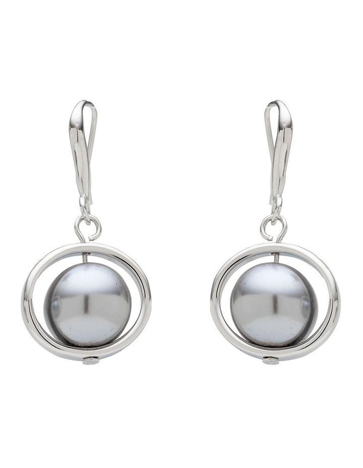 Pearl Ring Drop Grey Earrings image 1