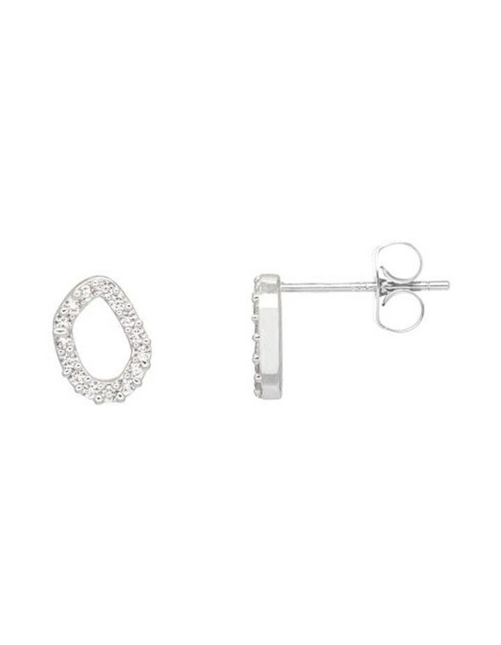 Pave Set Organic Circle Silver Stud Earrings image 1