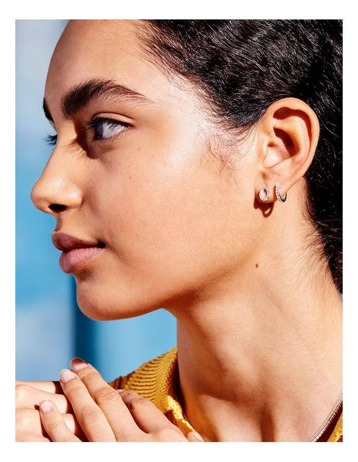 Pave Set Organic Circle Silver Stud Earrings image 2