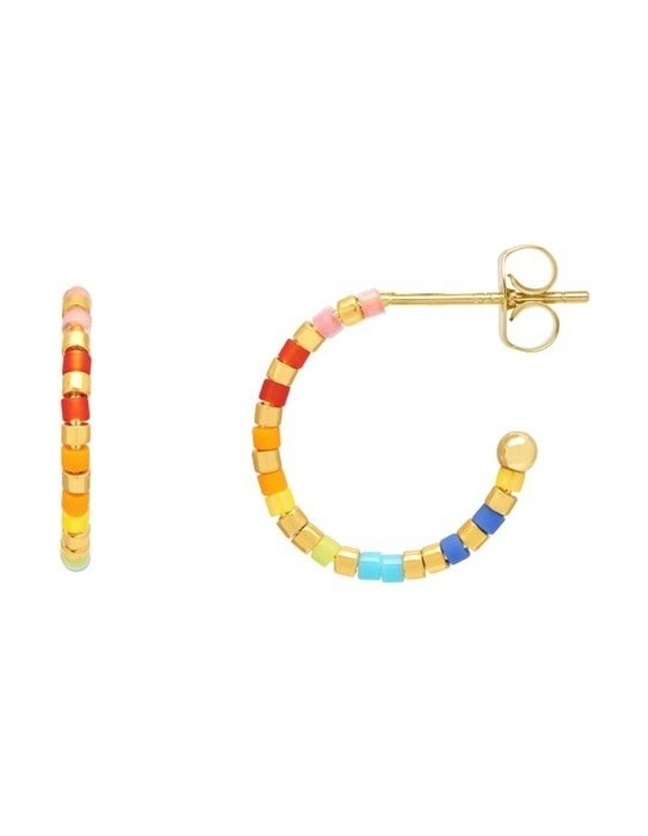 Rainbow Beaded Hoop Earrings image 1