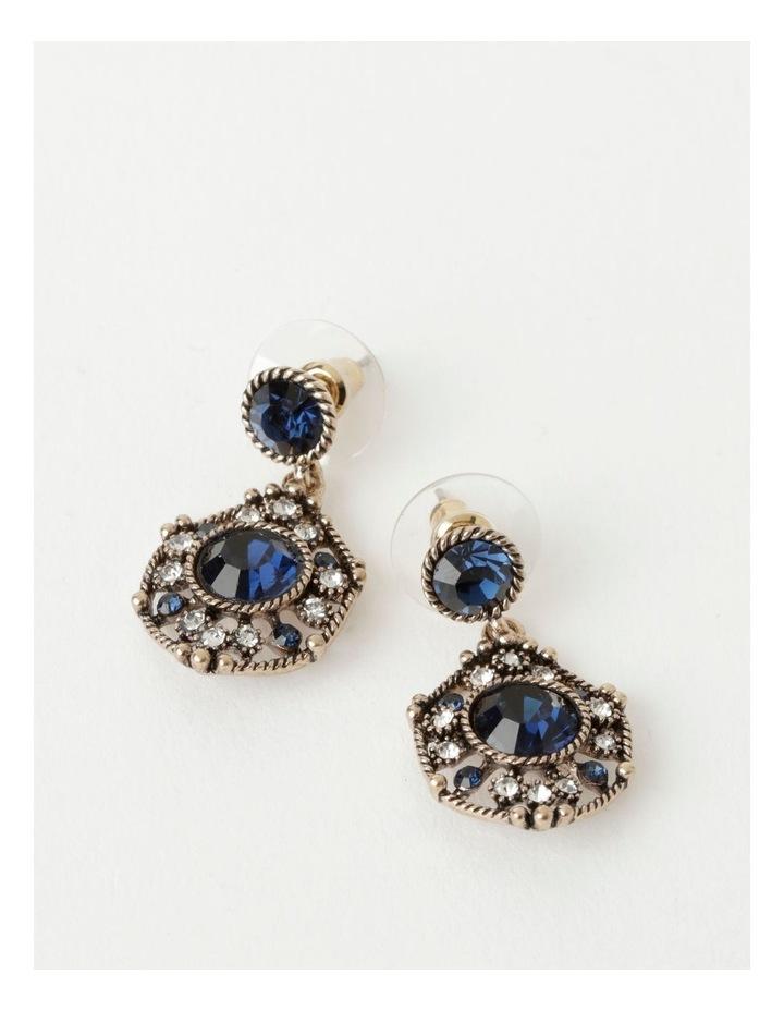 Art Deco Navy Drop Earrings image 1