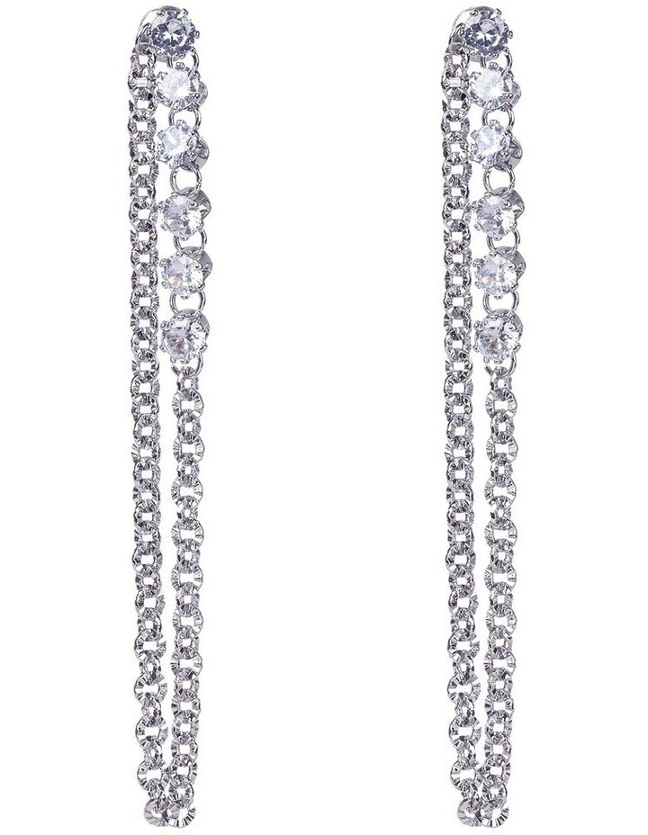 Long Chain Loops With Cubic Zirconia Silver Dangle Earrings image 1