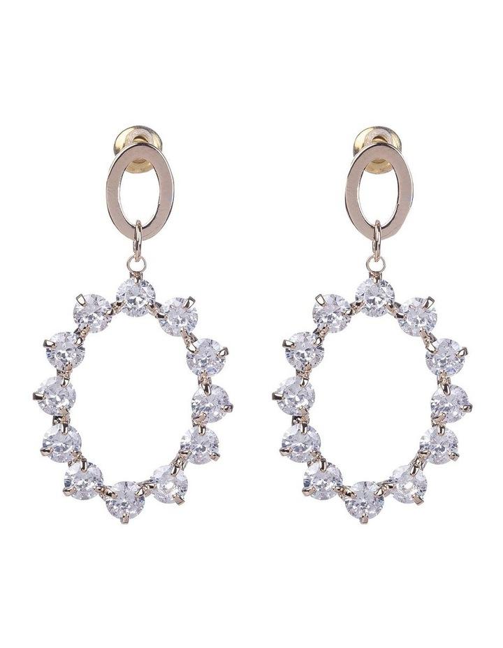 Oval Cubic Zirconia Rose Gold Drop Earrings image 1