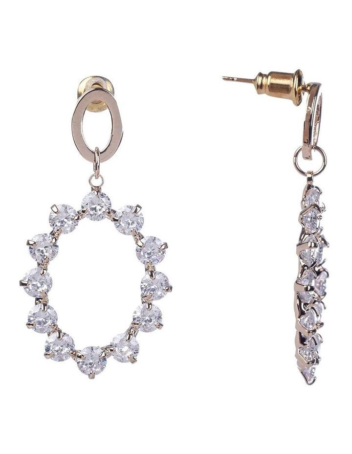 Oval Cubic Zirconia Rose Gold Drop Earrings image 2