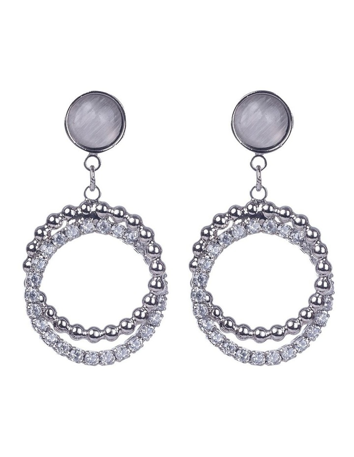 Double Circle Silver Drop Earrings image 1