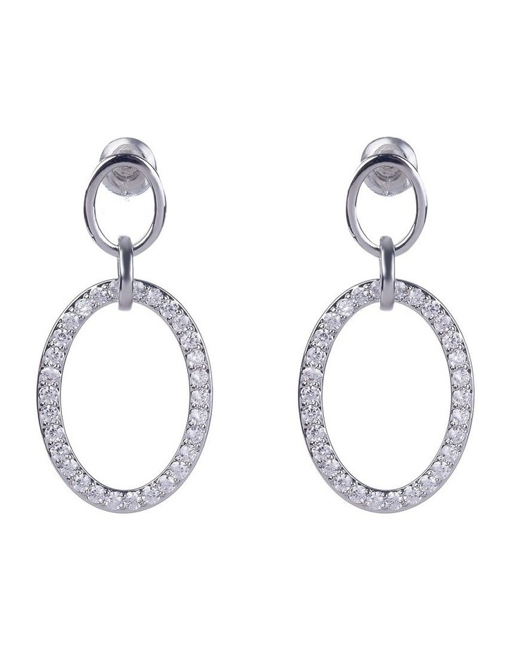 Oval With Micro Cubic Zirconia Silver Drop Earrings image 1