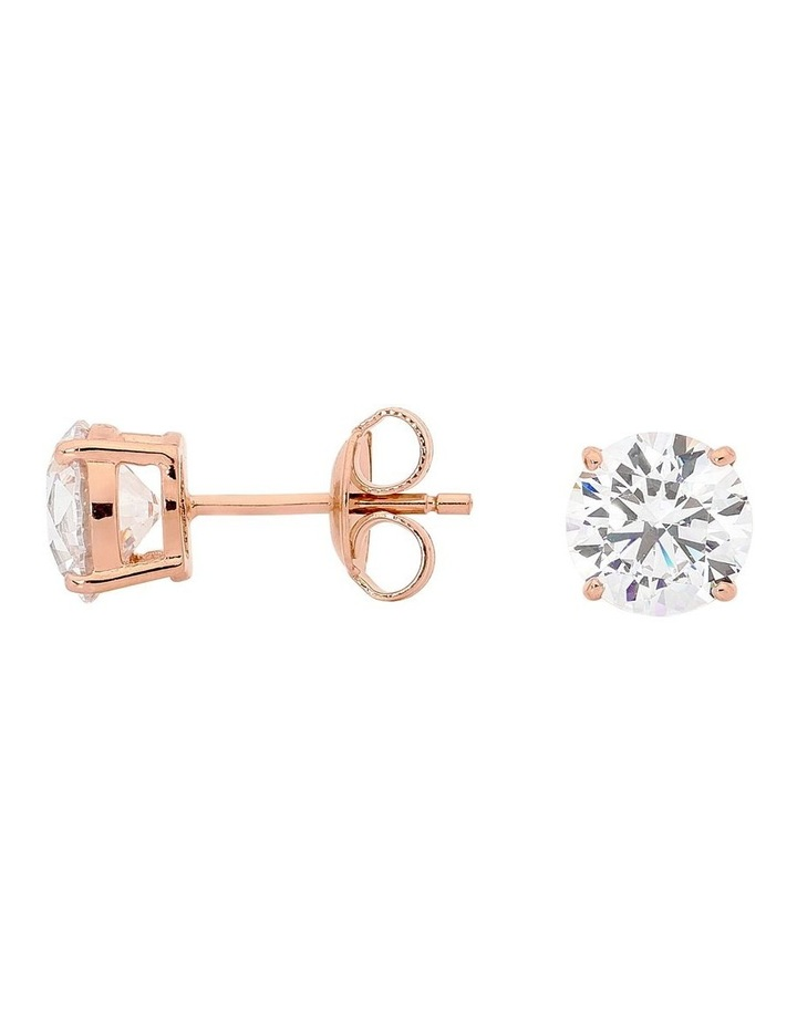 Clear Round 7mm Rose Gold Stud Earrings image 1
