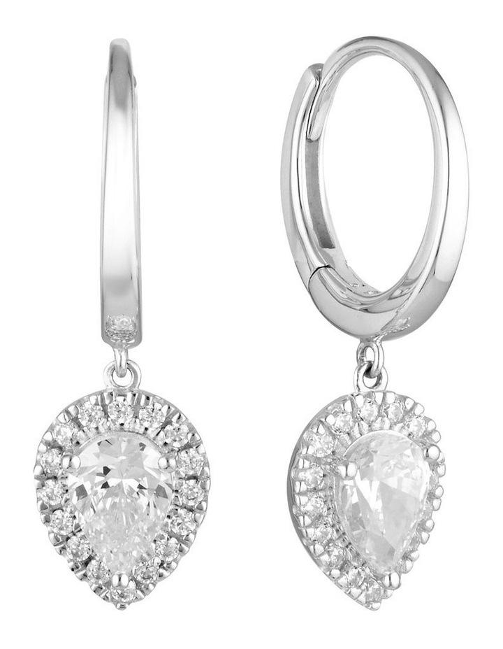 Luxe Splendore Silver Huggie Earrings image 1