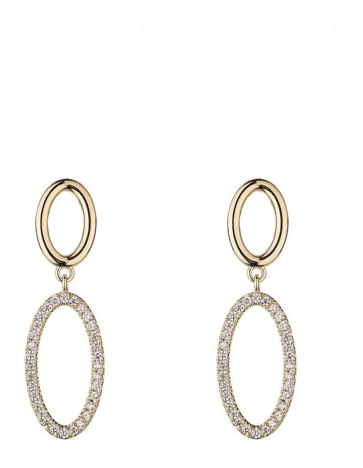 Stone Circle Drop Gold Earring image 1