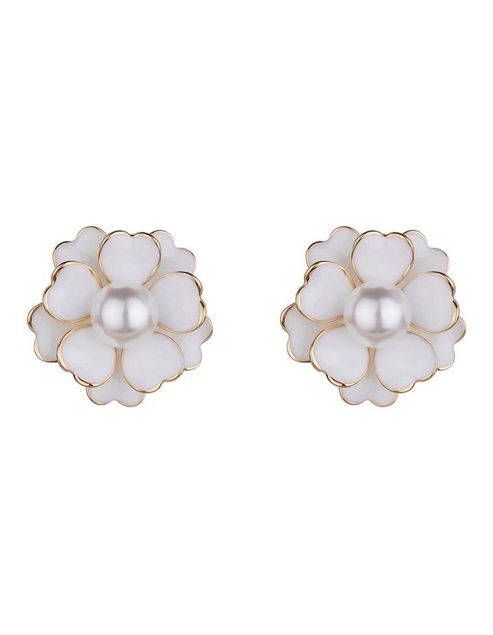 Enamel Flower Gold Stud Earring image 1