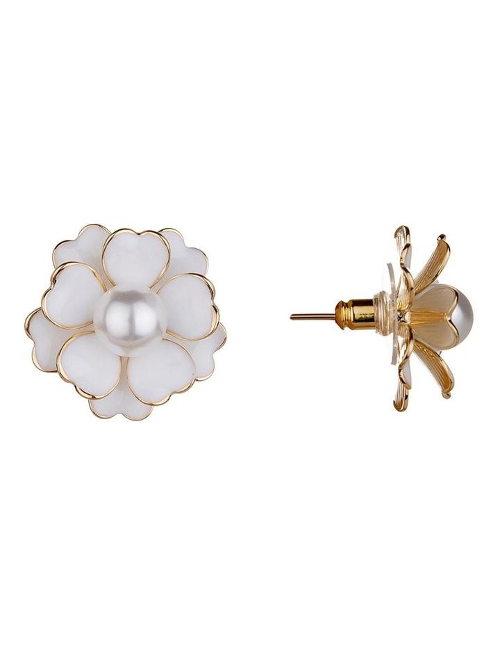 Enamel Flower Gold Stud Earring image 2