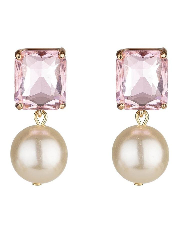 Emerald Stone Blush Pearl Drop Earring image 1