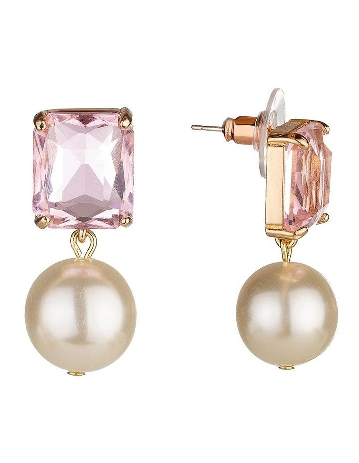 Emerald Stone Blush Pearl Drop Earring image 2