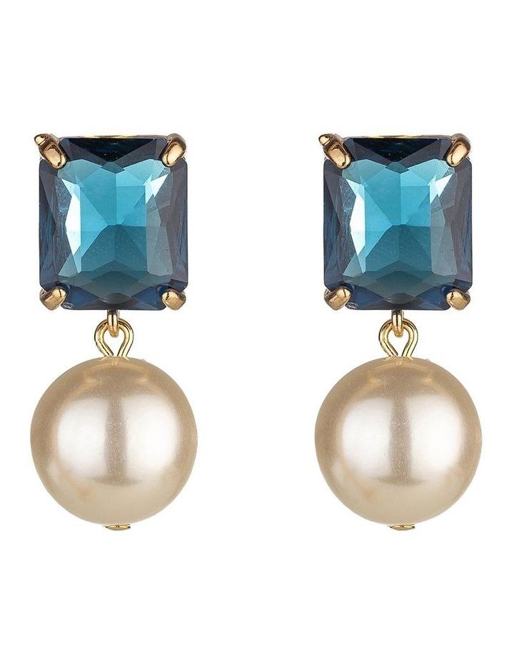 Emerald Stone Navy Pearl Drop Earring image 1
