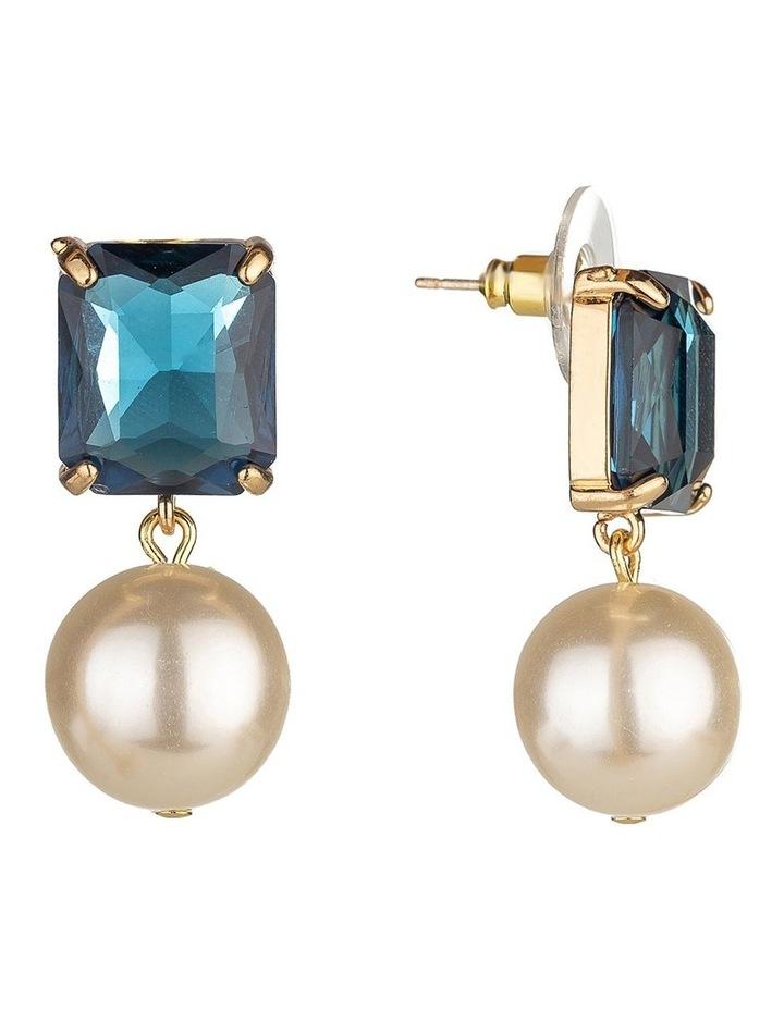 Emerald Stone Navy Pearl Drop Earring image 2