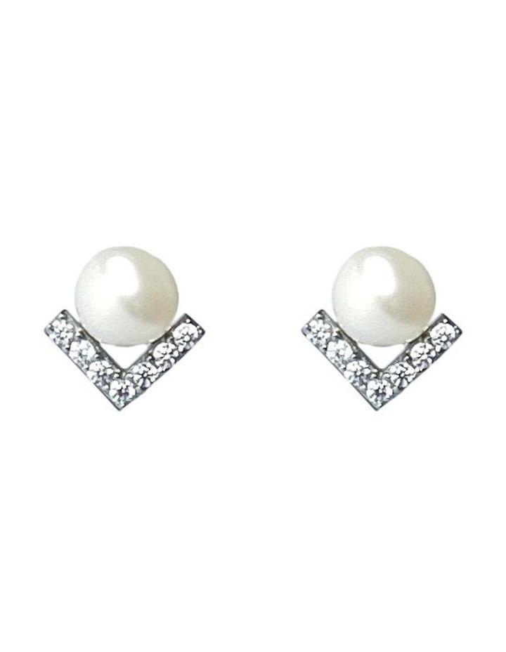 Petitte Cz White Pearl Stud Earrings image 1