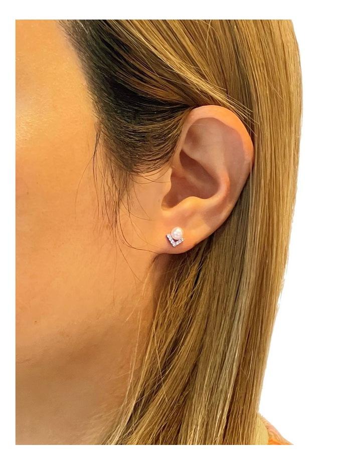 Petitte Cz White Pearl Stud Earrings image 2