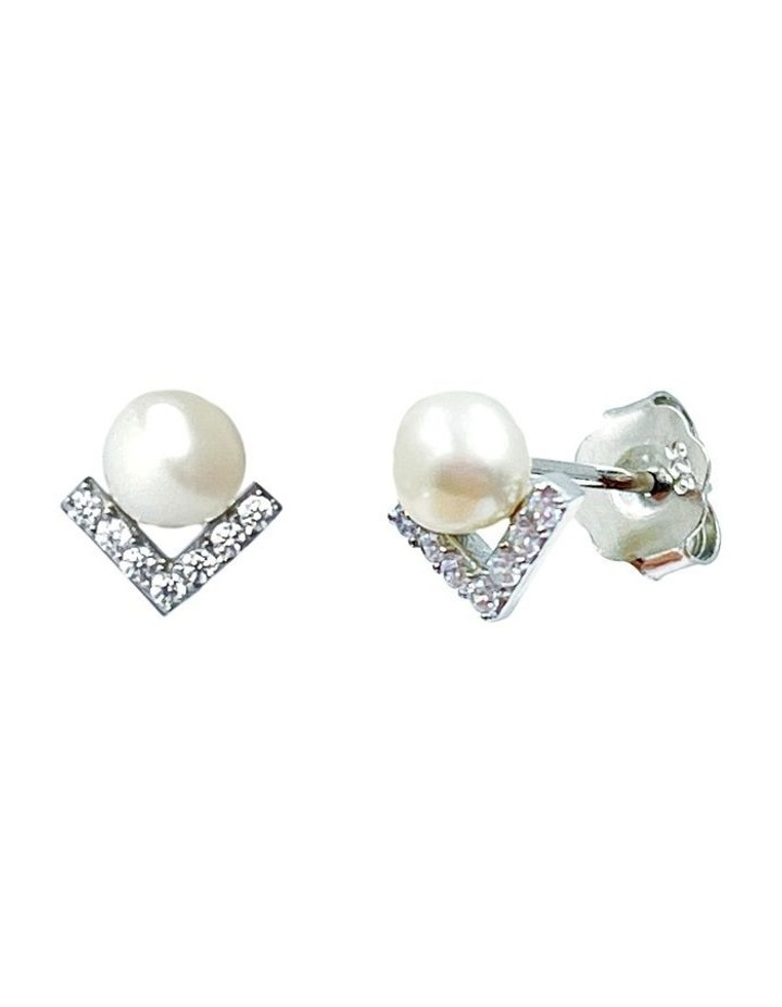 Petitte Cz White Pearl Stud Earrings image 3