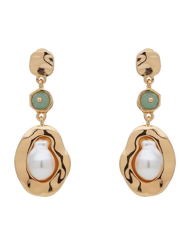 Stone & Organic Pearl Drop Earring image 1
