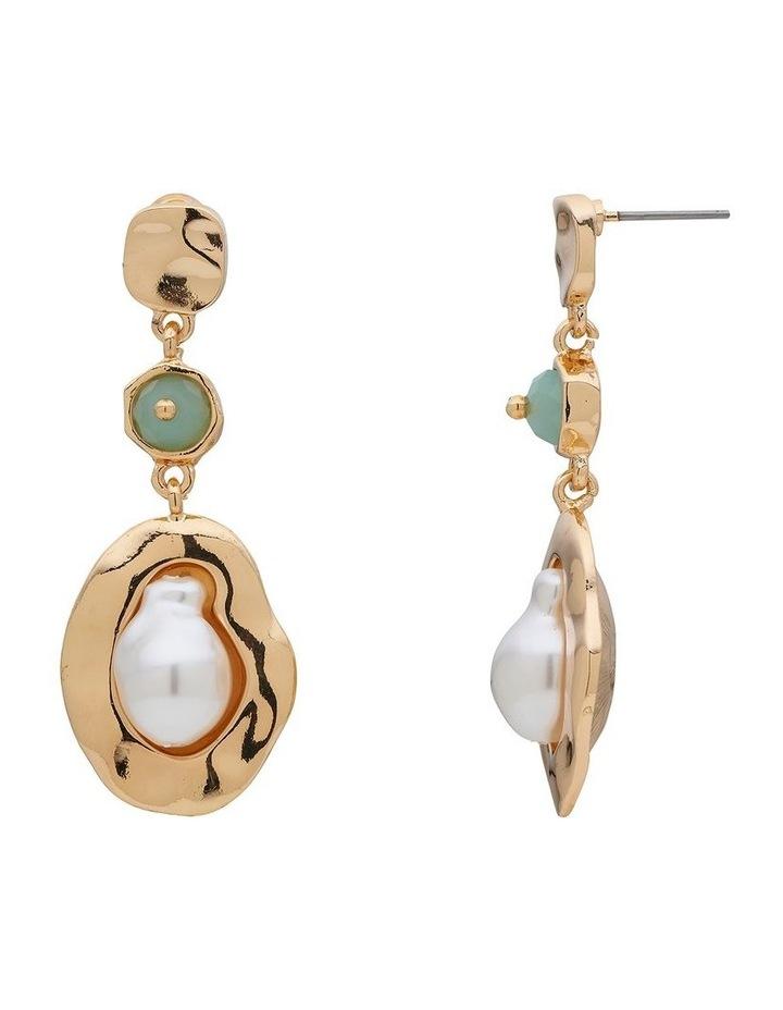 Stone & Organic Pearl Drop Earring image 2